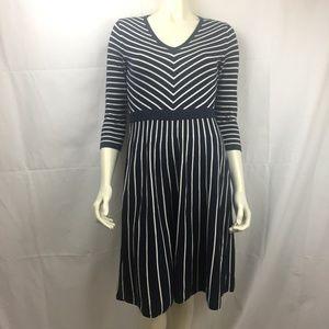 Boden 6R cotton blend striped sweater dress navy